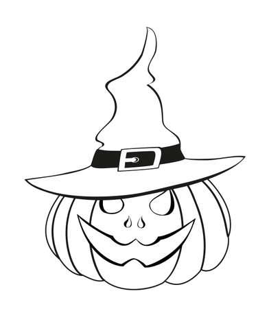 Halloween pumpkin with witch hat. Contour. Vector illustration. greeting card or invitation to a party and a party.