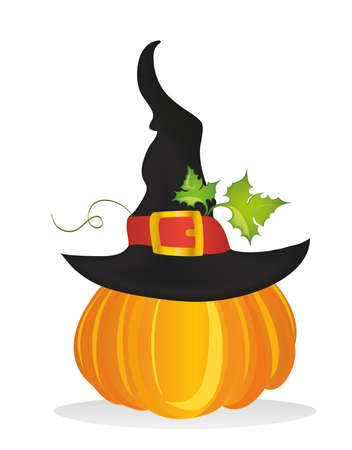Halloween. Witch hat. Vector. Greeting card or invitation for a party and a party. Illustration