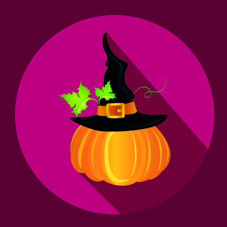 Halloween. Witch hat. Vector. Greeting card or invitation for a party and a party Illustration