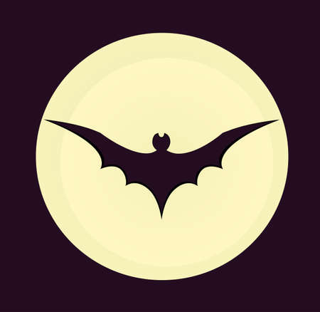 Halloween. The black silhouette of the bat is flying. Vector illustration.