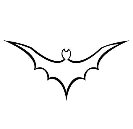 Halloween. The black contour of the bat is flying. Vector illustration.