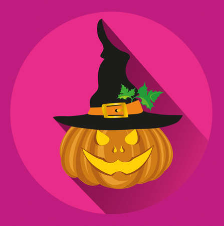 Halloween pumpkin with a black witch hat. Vector illustration. greeting card or invitation to a party and a party.