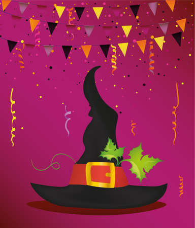 Halloween. Witch hat and garland of flags and confetti. Vector. Greeting card or invitation for a party and a party. Illustration