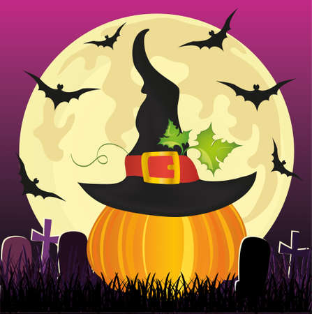 Halloween. Pumpkin in witch hat with the moon and bats. Vector. The concept of an invitation to a party in traditional colors with a place for your text. Tombstones.