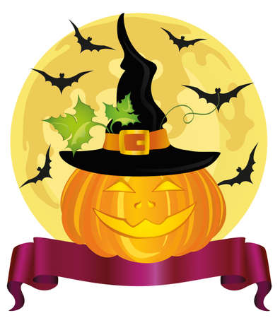 Happy Halloween pumpkin with a witch hat. Ribbon for text. Vector. greeting card or invitation for a holiday. Illustration