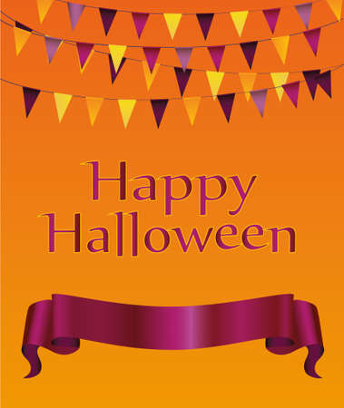 Halloween. Garland of flags and banner  ribbon for text. Vector. Greeting card or invitation for a holiday or party.