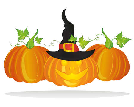Halloween. Pumpkins with  Witch hat.