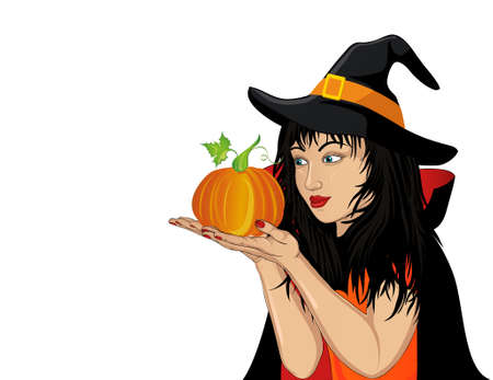 Halloween. A happy woman in a hat and a witch costume holds a pumpkins in her hands. Vector Pop art style