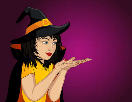 Halloween. Happy woman in hat and witch costume showing a gesture with two hands at empty copy space for your text or advertising. Vector Pop art style.
