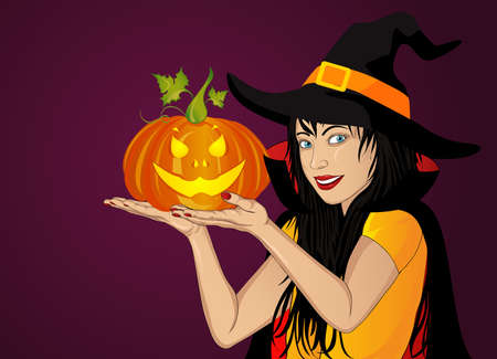 A woman in a hat and a witch costume holds a pumpkins in her hands.