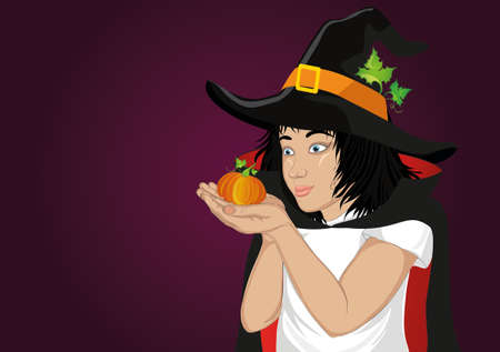 Wow !Halloween. Happy girl in a hat and a witch costume blowing pumpkin from her hands. Vector. Greeting card or invitation for holiday or party. Pop art style Illustration