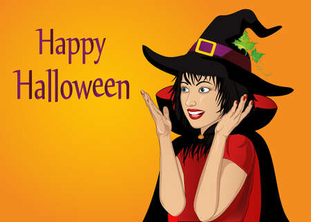 Halloween. Beautiful woman in hat and witch costume is surprised and shows hands wow. Vector. Empty space for your text or advertising. Greeting card or invitation for holiday or party. Pop art.