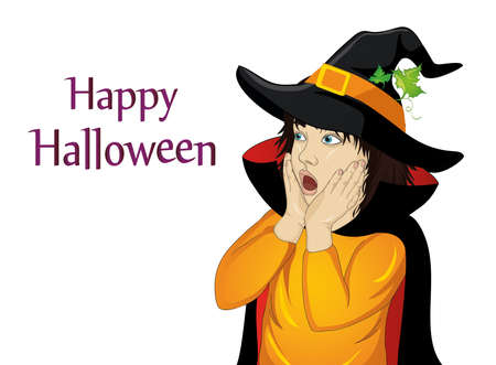 Girl in hat and witch costume is surprised.