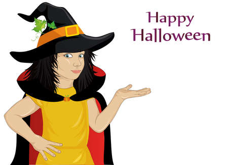 Wow !Halloween. Happy girl in a hat and a witch costume blowing pumpkin from her hands. Vector. Greeting card or invitation for holiday or party. Pop art style. Illustration