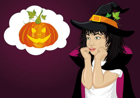 Halloween.Girl in hat and witch costume is surprised. wow. Vector. Thinking bubble with pumpkin inside. Greeting card or invitation for holiday or party. Pop art. Illustration