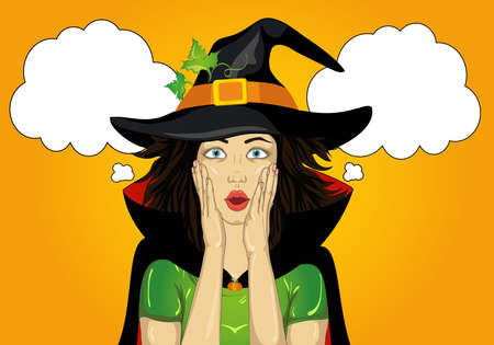 Halloween. Beautiful woman in hat and witch costume is surprised and shows hands wow. Empty space for your text or advertising. Greeting card or invitation for holiday or party. Pop art. Thought Bubbles.