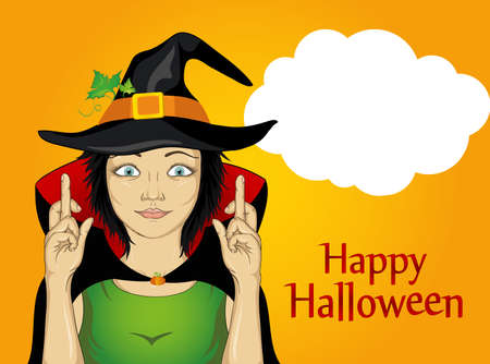 Halloween. A young woman in a hat and a witch suit crossed her fingers. A happy girl makes a wish. She dreams of a gift. Vector. An empty thinking bubble for your text or ad. Greeting card or invitation for a holiday or a party. Pop Art Ilustrace
