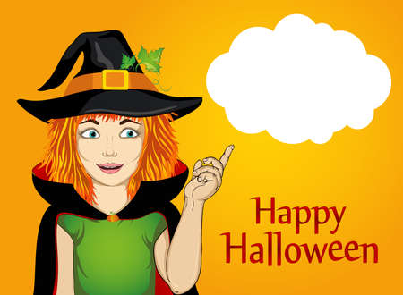 Halloween.Girl in hat and witch costume is surprised shows his finger in the direction of a thinking bubble. wow. Vector. Greeting card or invitation for holiday or party. Pop art.