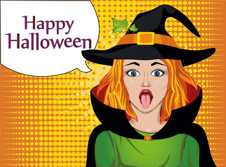Halloween. The girl in the suit and hat of the witch stuck out her tongue. Wow. Teases. . Greeting card for the holiday. Pop art illustration. Vector. Thinking bubble for your text or advertisement. Illustration
