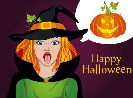 reveal: Halloween. The girl in the suit and hat of the witch stuck out her tongue. Wow. Teases. . Greeting card for the holiday. Pop art illustration. Vector. Thinking bubble for your text or advertisement. Illustration