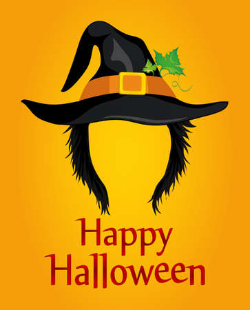 Halloween. A girl in a witch hat with hair without a face. Vector. Greeting card or invitation to a party or party. Illustration