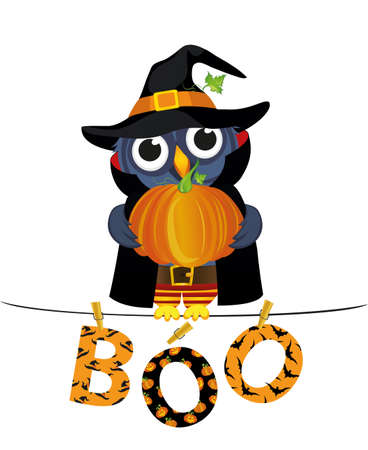 Owl in a suit on a Halloween with pumpkin sits on a rope with Letters and an inscription boo hang on clothespins.