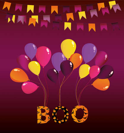 Halloween Carnival with flags Garlands with balloons on them hang the letters boo. Vector. Greeting card or invitation for a holiday. Empty place for text or your advertisement.