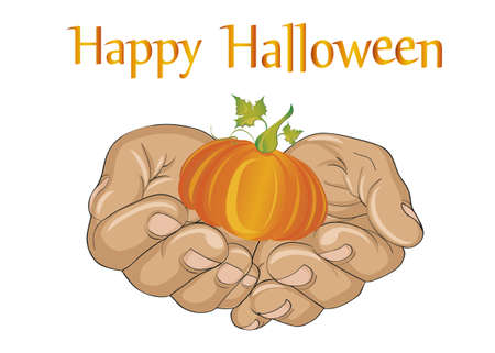 Halloween. The gesture of open palms. Folded hands stretch out a pumpkin for you on a holiday. Vector. Greeting card or invitation..