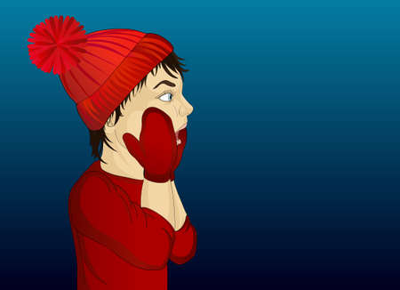 Portrait of a boy in red cap and mittens looking surprised. Illustration