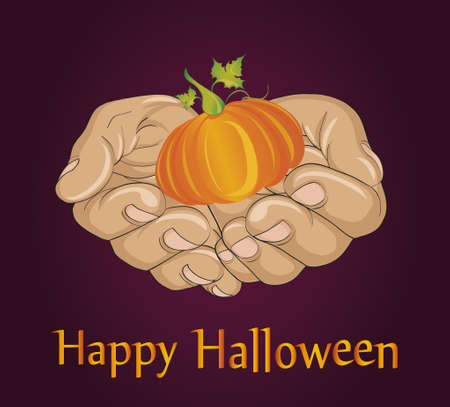 Halloween Greeting card or invitation with the gesture of open palms with a pumpkin.