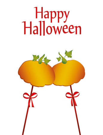 Halloween pumpkins on a sticks with a bows and ribbons for greeting card  invitation to a party