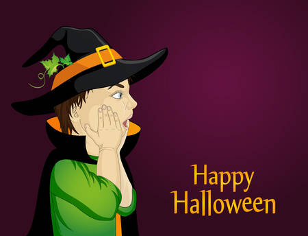 Halloween design template with a profile of a surprised boy in hat and witch costume. Illustration