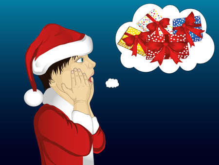 Profile of a boy in Santa Claus costume in a very surprised gesture. Illustration