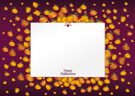 Composition of pumpkins. Halloween. Greeting card for a holiday or an invitation to a party. Empty space for text Vector.