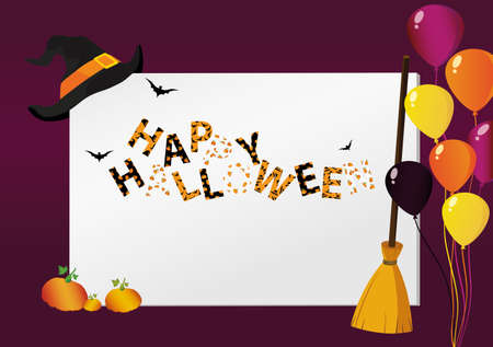 Greeting card for Halloween. Creative frame with a pumpkin broom witch hat and balloons. Traditional elements of the holiday. Template for a party for Halloween.