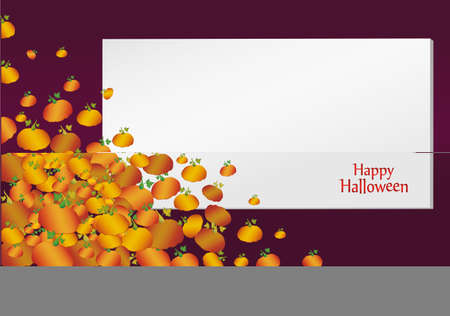 Halloween, empty blank form with pumpkins. Greeting card for a holiday or an invitation to a party. Illustration