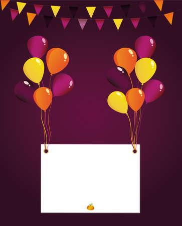 Greeting card for Halloween with balloons. Invitation to a holiday or a party. Vector. Empty space for text or your advertising.