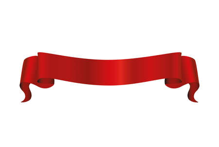 Decorative red ribbons banner isolated on white. Vector. For a holiday or a party.