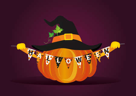 Pumpkin in a velvet hat holds a garland with flags with the letters Halloween.