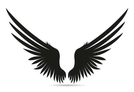 Silhouette wings. Vector illustration on white background. Black and white style.