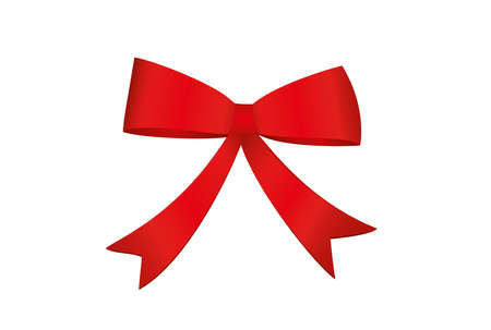 Red bow . Vector isolated on white background. For a holiday or a party.