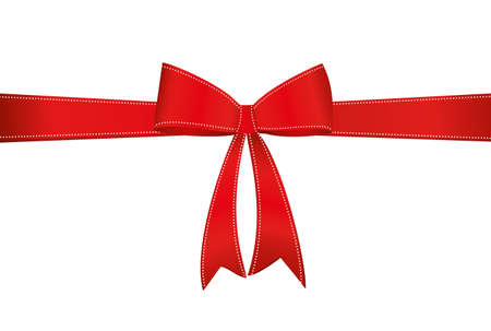 Red bow with ribbon . Vector isolated on white background. For a holiday or a party.