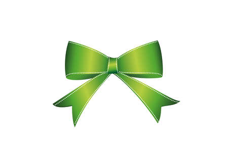 Green bow . Vector isolated on white background. For a holiday or a party.