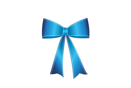 Blue  bow . Vector isolated on white background. For a holiday or a party