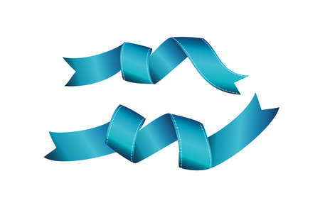 Decorative blue ribbons banner with copy space isolated on white. Vector. For a holiday or a party.
