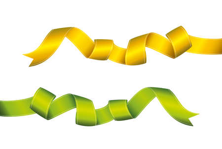 Decorative green and yellow ribbons banner isolated on white. Vector. For a holiday or a party.