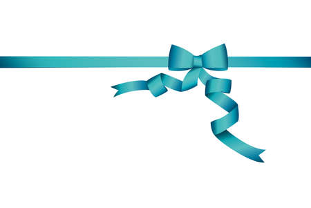 Decorative blue ribbons with bow banner in the corner diagonally. With copy space isolated on white.