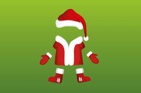 Costume and all Santa Claus clothes with felt boots, gloves and a hat. Vector. Christmas card. Illustration