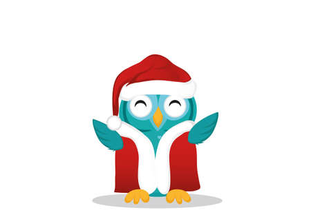 Ð¡ute  owl happy smiling and waving its wings up. Greeting card for Christmas or New Year. Empty place for your text or advertisement. Vector.