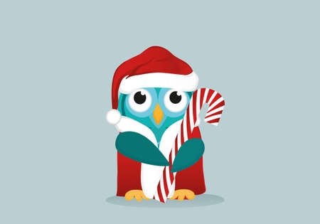 Owlet  in Santa Claus costume holds a Christmas candy.  Greeting card for the new year. Empty place for your text or advertisement. Vector. Illustration